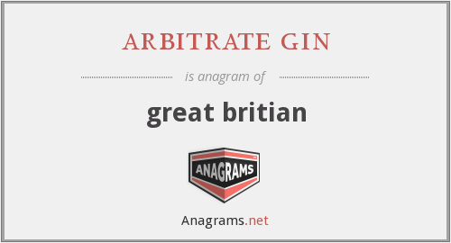arbitrate gin - great britian