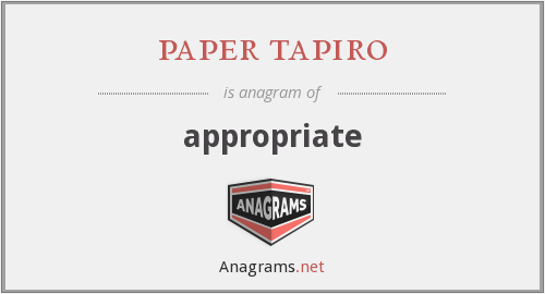 paper tapiro - appropriate