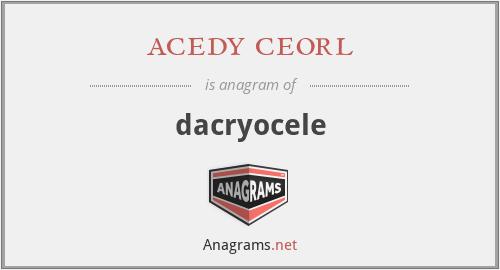 acedy ceorl - dacryocele