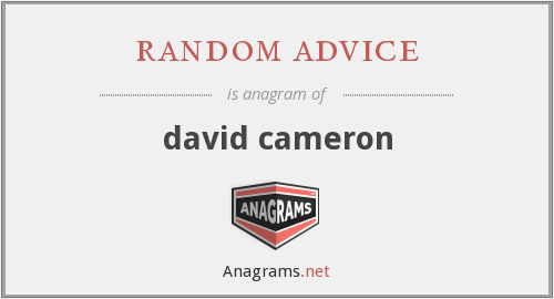 random advice - david cameron