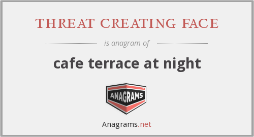 threat creating face - cafe terrace at night
