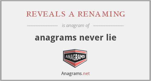 reveals a renaming - anagrams never lie